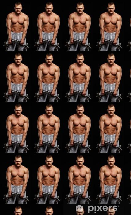 Papier peint vinyle sur mesure Beau jeune homme musclé exercice avec des  haltères - Hommes 34204964102