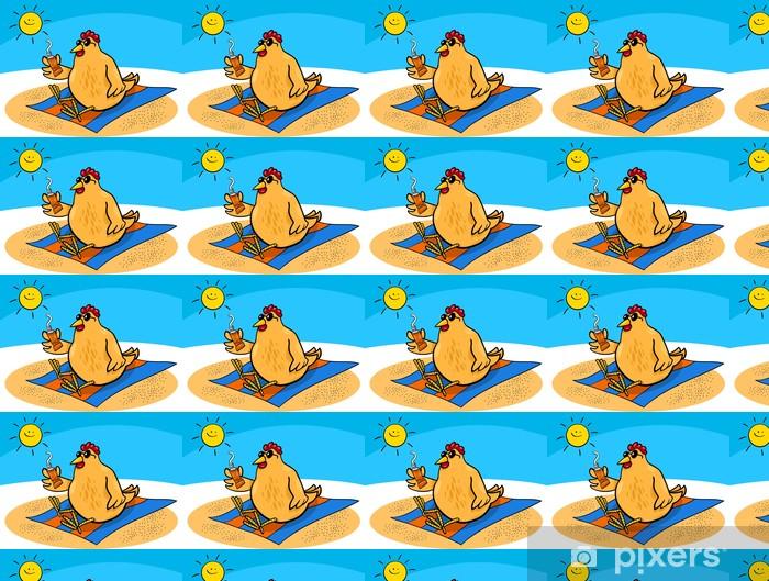 Chicken On The Beach Cartoon Wallpaper Vinyl Custom Made