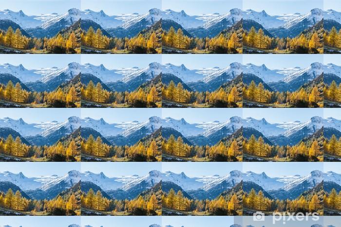 Papier peint vinyle sur mesure Vue d'une vallée d'alpage aux couleurs d'automne - Forêt