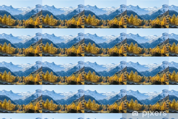 Vinyltapete nach Maß Blick auf eine Alp-Tal in den Herbstfarben - Wälder