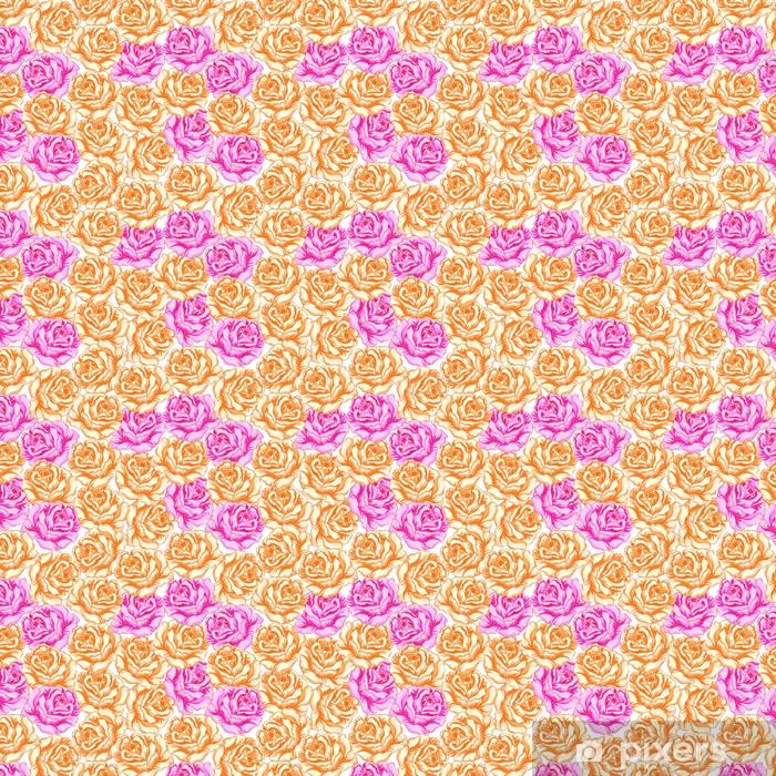 Saumaton malli oranssilla ja vaaleanpunaisilla ruusuilla. Räätälöity vinyylitapetti - Kukat