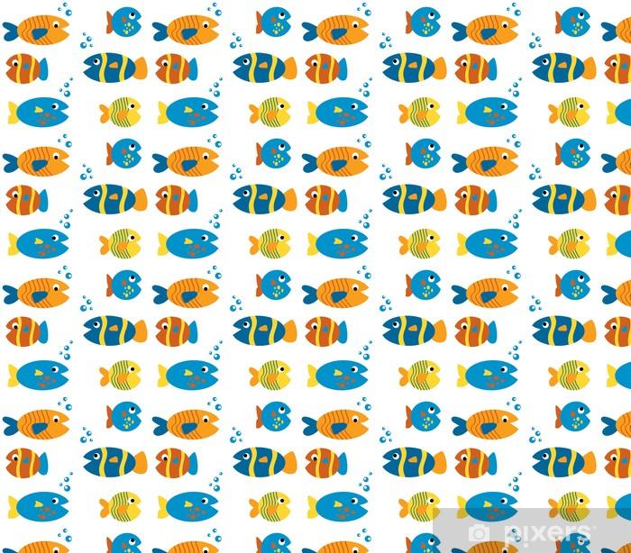 Papier peint vinyle sur mesure Set de poisson mignon - Animaux marins