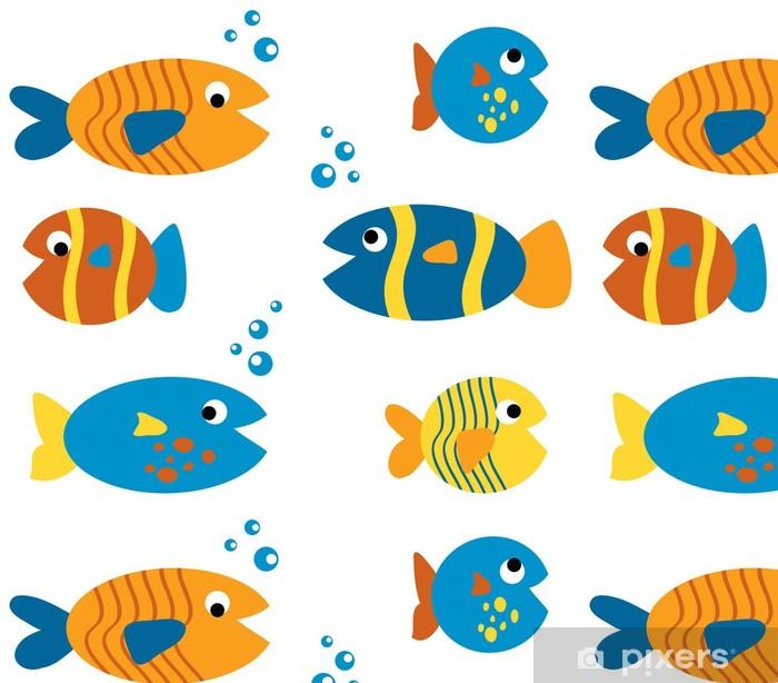 Papier peint à motifs vinyle Set de poisson mignon - Animaux marins