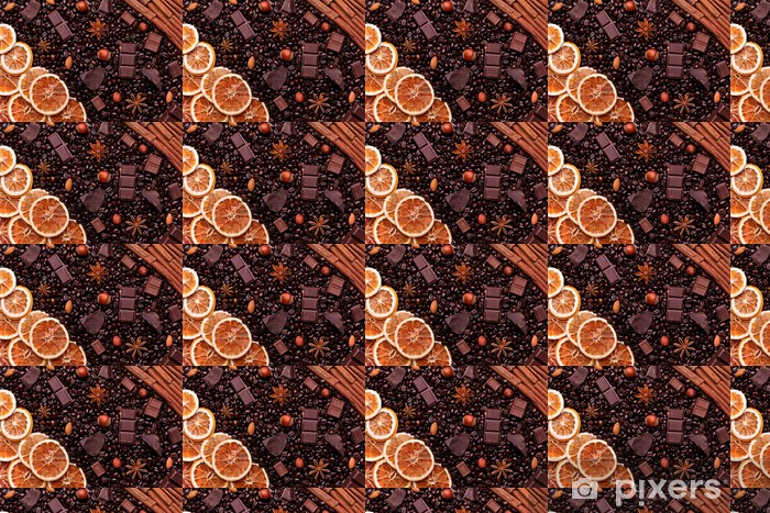 Background of coffee beans, chocolate chips, spices, nuts and ca Vinyl custom-made wallpaper - Destinations
