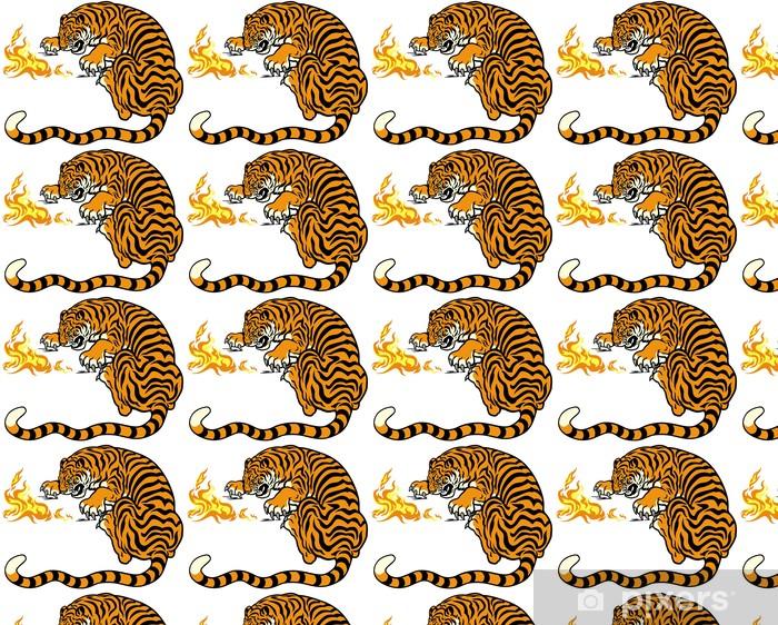 Papier peint vinyle sur mesure Tigre avec le feu - Sticker mural