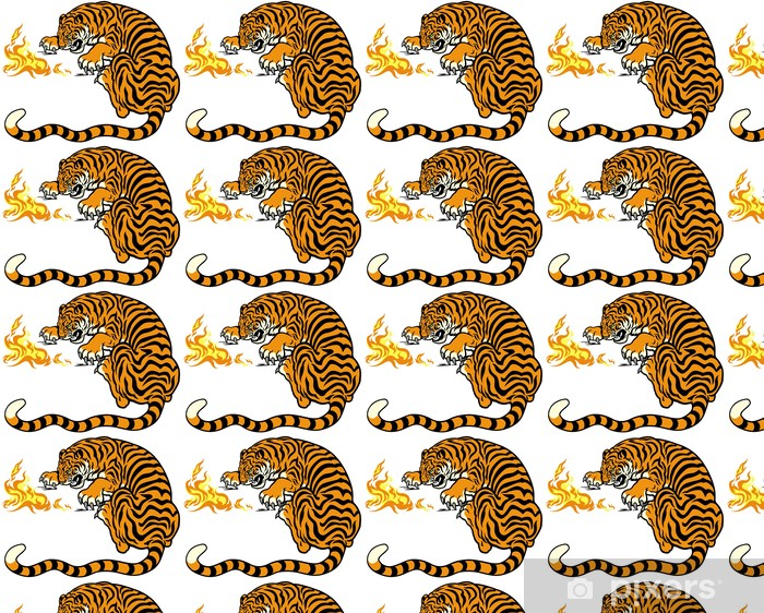 tiger with fire Vinyl custom-made wallpaper - Wall decals