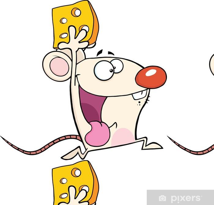 Vinyl Behang Gelukkig White Mouse Cartoon Mascot Karakter Running With Cheese - Zoogdieren