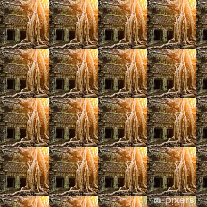 Vinyl behang, op maat gemaakt Reusachtige boom die Ta Prom tempel, Siem Reap, Cambodja - Monumenten