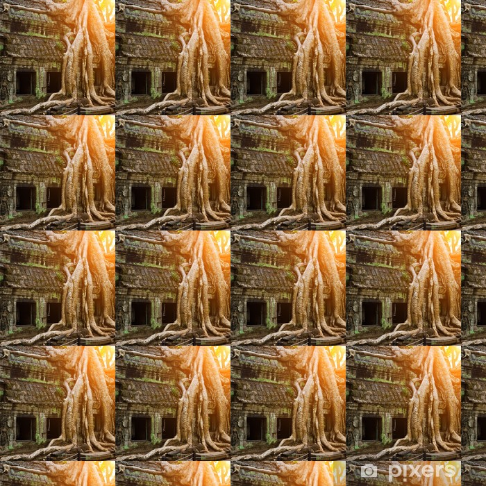 Papier peint vinyle sur mesure Arbre géant couvrant temple de Ta Prom, Siem Reap, Cambodge - Monuments