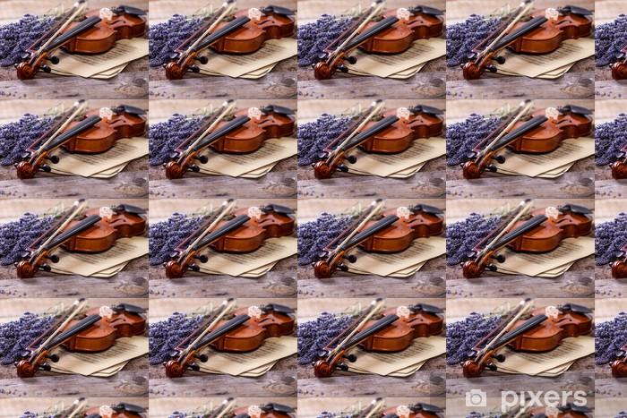 Tapeta na wymiar winylowa Vintage skład ze skrzypcami i lawendy - Muzyka