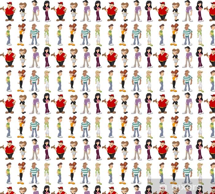 Vinylová tapeta na míru Skupina roztomilých kreslených šťastných lidí - Skupiny a dav