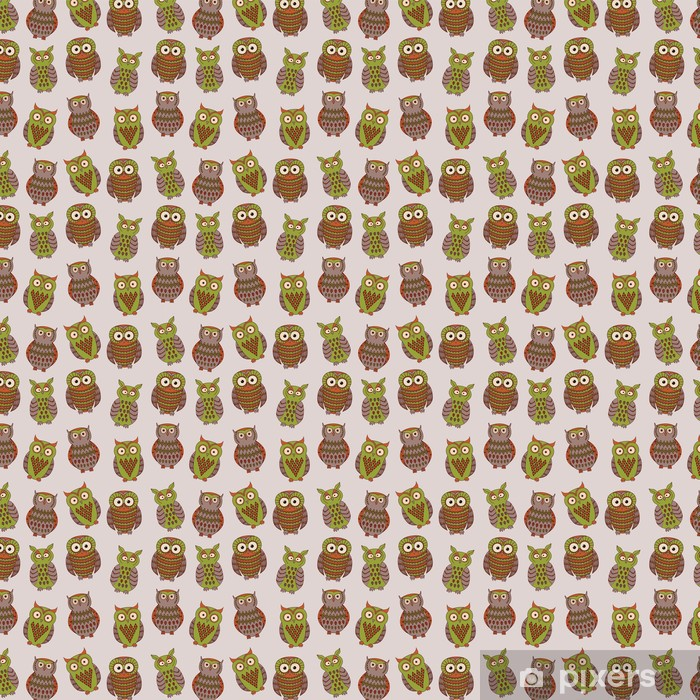 Vector colorful seamless pattern with different owls Vinyl custom-made wallpaper - Backgrounds