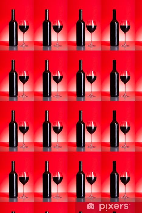 Papier peint vinyle sur mesure Bouteille et un verre de vin rouge - Thèmes