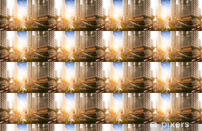 Vinyltapete nach Maß Der Sonnenuntergang von den belebten Straßen der großen Städte - Stadt