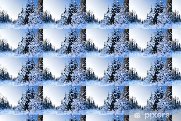 Papier peint vinyle sur mesure Paysage d'hiver avec la forêt - Saisons