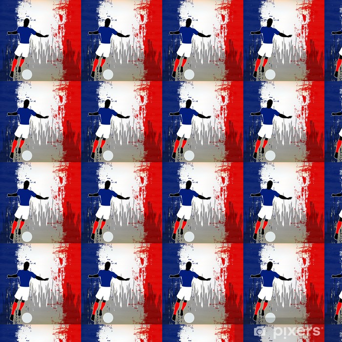 Football France Vector Soccer Player Over A Grunged French Flag Wallpaper Vinyl Custom Made