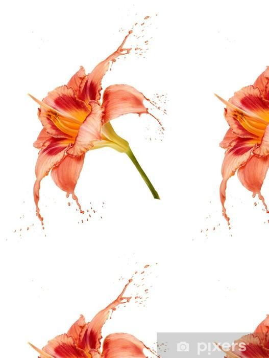 Vinyl Behang Oranje bloem spatten - Bloemen