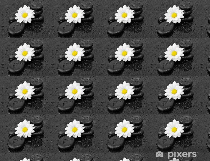 Papier peint vinyle sur mesure Pierres noires et fleur blanche avec des gouttes d'eau - Fleurs