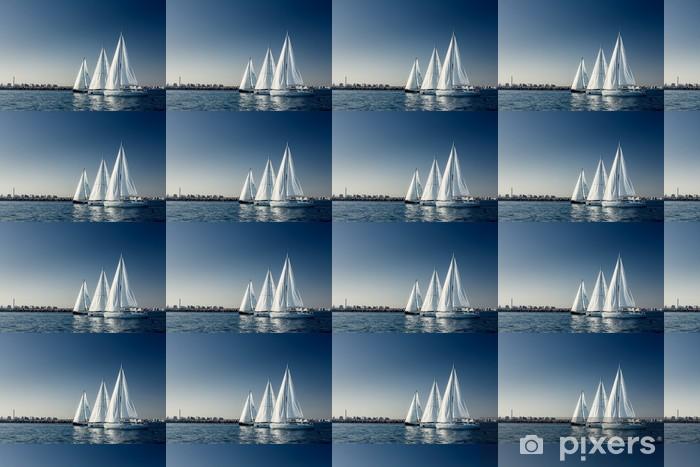 Tapeta na wymiar winylowa Żeglarstwo jachty z białymi żaglami statku - Wolność