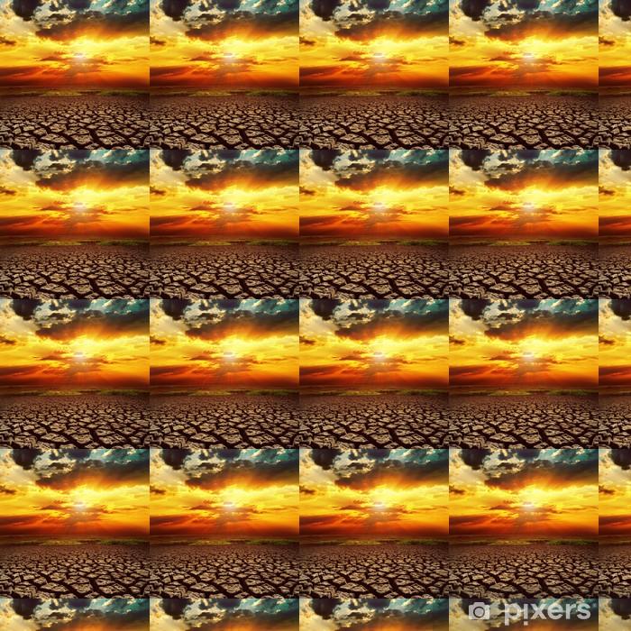 Vinyltapete nach Maß Fantastischen Sonnenuntergang über rissige Erde - Himmel