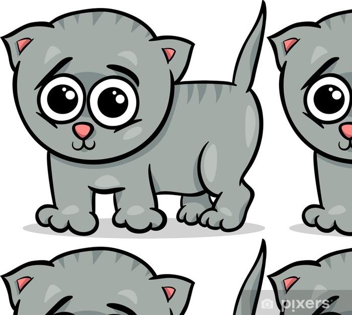 Papier peint à motifs vinyle Bébé chat chaton illustration de bande dessinée - Sticker mural
