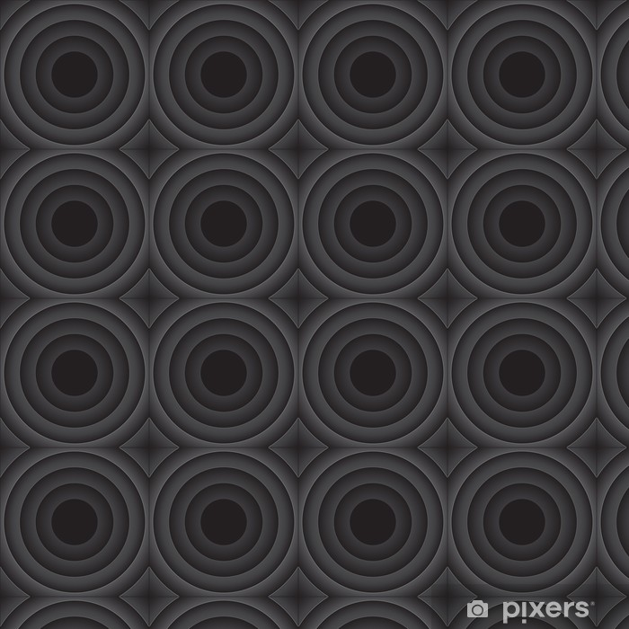 Vector abstract background with black rounds Vinyl custom-made wallpaper - Abstract
