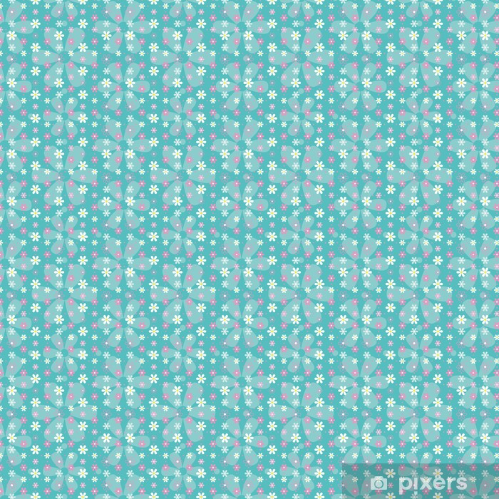 Tapeta na wymiar winylowa Różowy i niebieski wzór białe kwiaty - Style