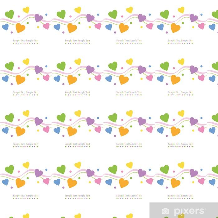 Papier peint vinyle sur mesure Coeurs colorés carte de voeux - Bonheur