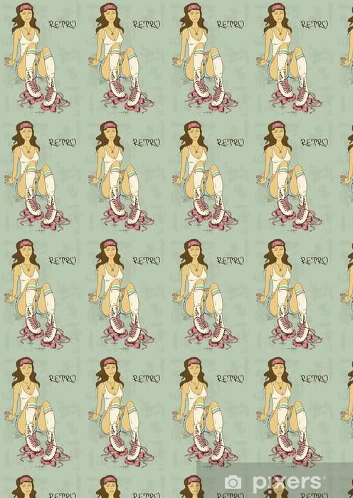 Tapeta na wymiar winylowa Retro ilustracji z dziewczyna na rolkach - Kobiety