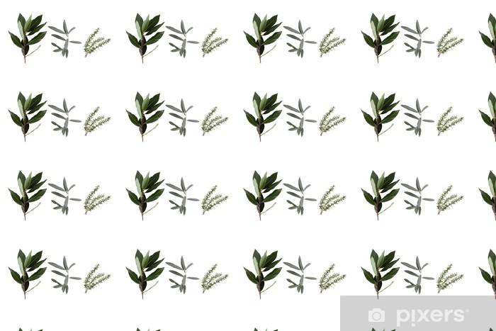 Papier peint vinyle sur mesure Détail de la plante médicinale en gros plan sur fond blanc - Epices, herbes et condiments