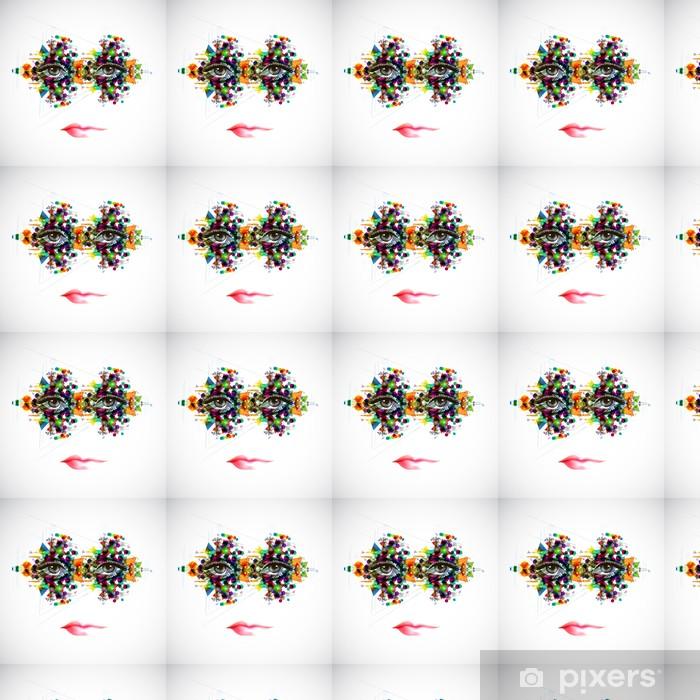 Абстрактный образ женщины Vinyl custom-made wallpaper - Sadness