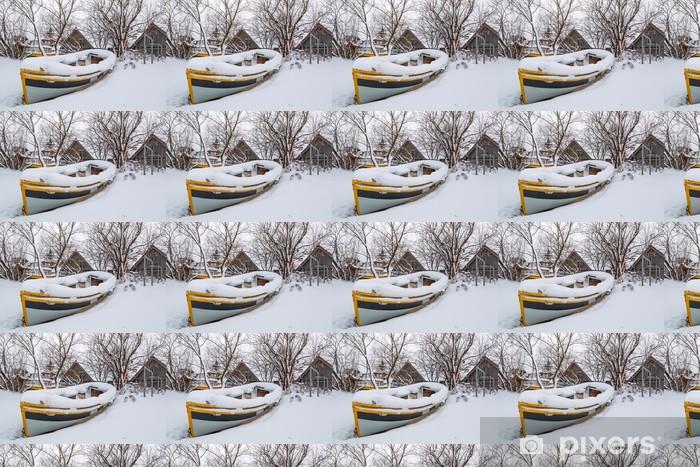Tapeta na wymiar winylowa Zimowe krajobrazy z łodzi rybackich na Morzu Bałtyckim w Polsce - Europa