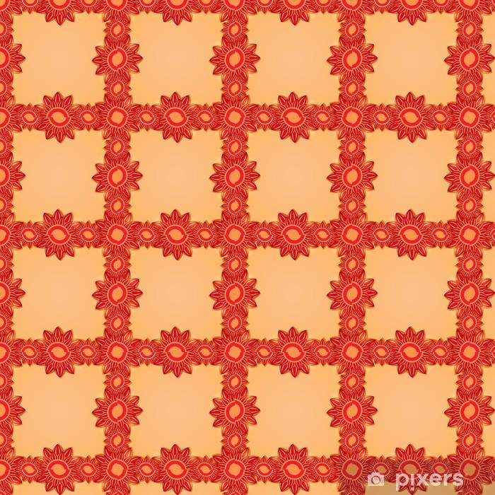 Papel pintado estándar a medida Marco floral rojo - Fondos