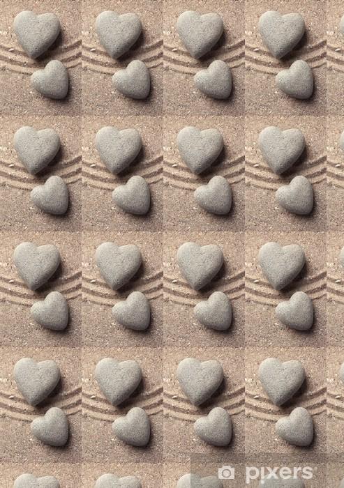 Vinylová tapeta na míru Šedá zen kámen ve tvaru srdce na písku pozadí - Témata