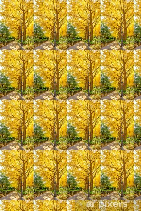 Vinyltapete nach Maß Die Straße von Gingko Bäume in Yamashita Park, Yokohama, Japan - Jahreszeiten
