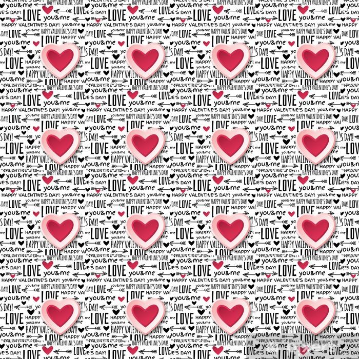 Papier peint à motifs vinyle Fond avec le coeur de valentine rouge et le texte de voeux, vecteur - Fêtes internationales