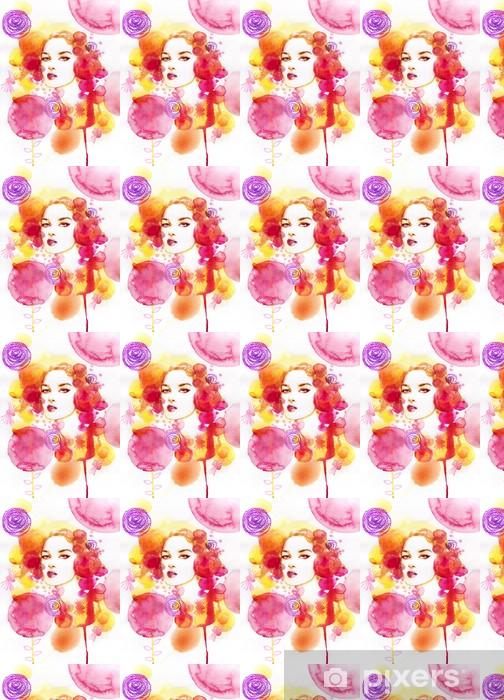 Vinylová tapeta na míru Krásná žena. Ručně malované módní ilustrace - Žena