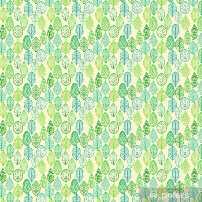 Saumaton käsin piirretty vintage kuvio vihreä ornate lehdet Räätälöity itsestäänkiinnittyvä tapetti - Styles