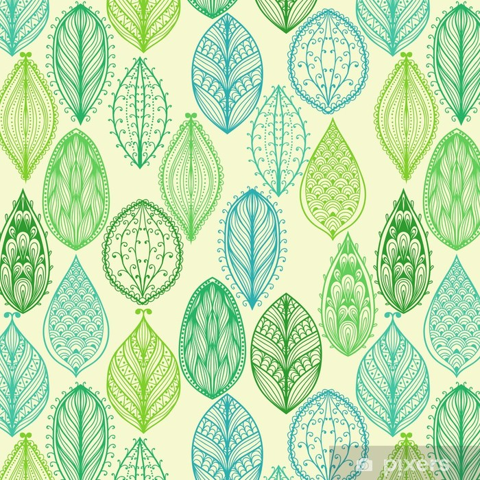 Saumaton käsin piirretty vintage kuvio vihreä ornate lehdet Itsestäänkiinnittyvä tapetti - Styles