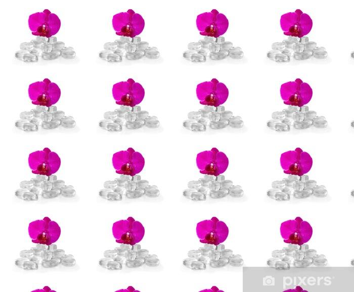 Papier peint vinyle sur mesure Orchidée rose avec la rosée et la réflexion - Fleurs
