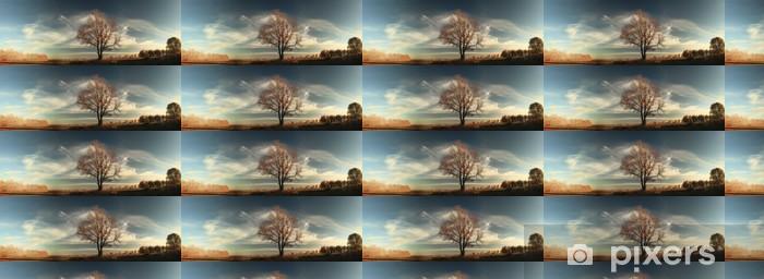 Papier peint vinyle sur mesure Automne, chêne solitaire dans un champ - Campagne
