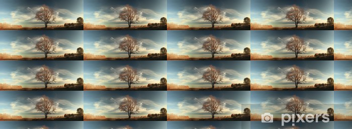 autumn, lone oak tree in a field Vinyl custom-made wallpaper - Countryside