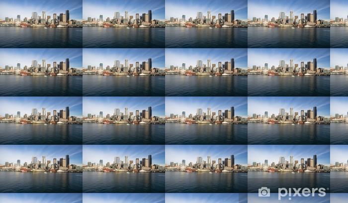 Papier peint vinyle sur mesure Bateaux Waterfront Piers Dock Bâtiments Ferris Wheel Seattle - Paysages urbains