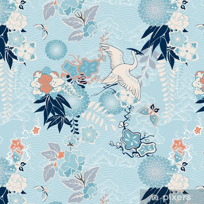 Vinil Duvar Kağıdı Vinç ve çiçekler ile Kimono arka plan -
