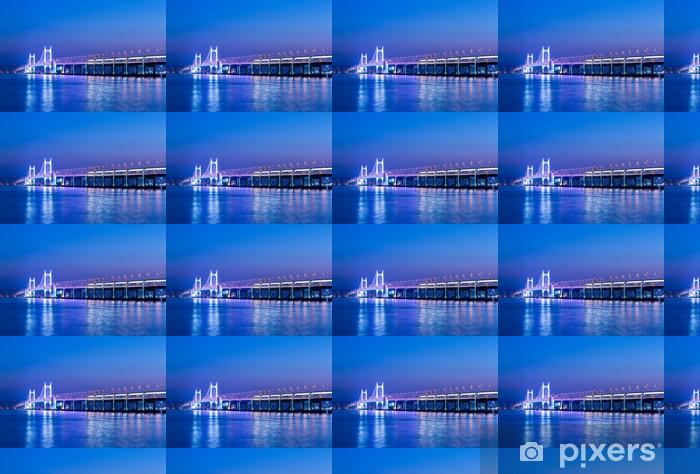 Papier peint vinyle sur mesure Busan et le pont de suspension - Paysages urbains
