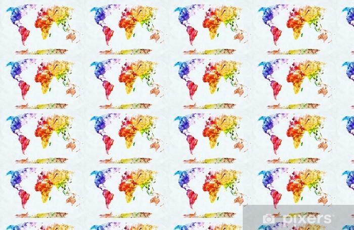 Tapeta na wymiar winylowa Mapa świata w akwareli - Style