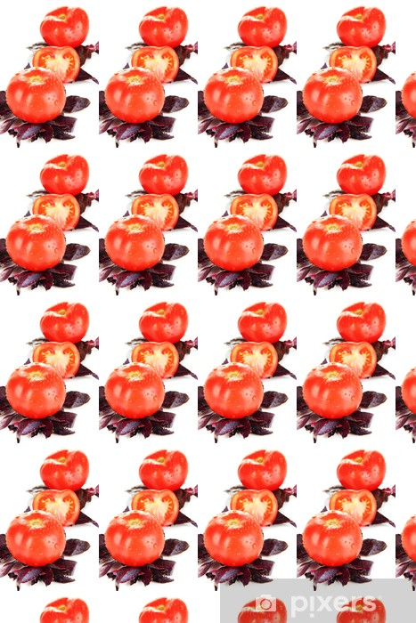 Tapeta na wymiar winylowa Świeże pomidory i bazylia pozostawia na białym - Tematy