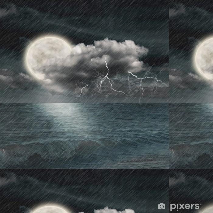 Vinylová Tapeta Bouře večer na oceán a měsíc - Nebe