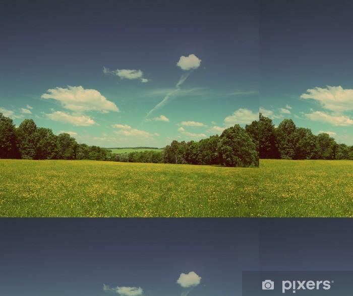Vinyl Behang Zomer landschap - vintage retro stijl - Platteland