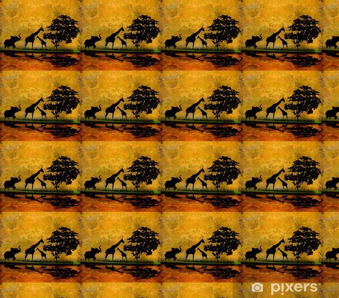 Papier peint vinyle sur mesure Safari en Afrique silhouette de réflexion des animaux sauvages dans l'eau - Mammifères